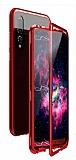 Dafoni Glass Guard Huawei P20 Lite Metal Kenarlı Cam Kırmızı Kılıf