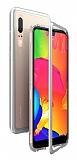 Dafoni Glass Guard Huawei P20 Metal Kenarlı Cam Silver Kılıf