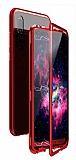 Dafoni Glass Guard Huawei P30 Lite Metal Kenarlı Cam Kırmızı Kılıf