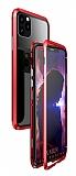 Dafoni Glass Guard iPhone 11 Pro Max Metal Kenarlı Cam Kırmızı Kılıf