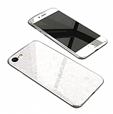 Dafoni Glass Guard iPhone 7 / 8 Desenli 360 Derece Koruma Cam Beyaz Kılıf