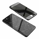 Dafoni Glass Guard iPhone 7 / 8 Desenli 360 Derece Koruma Cam Siyah Kılıf