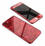Dafoni Glass Guard iPhone 7 / 8 Desenli 360 Derece Koruma Cam Kırmızı Kılıf