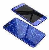 Dafoni Glass Guard iPhone 7 Plus / 8 Plus Desenli 360 Derece Koruma Cam Lacivert Kılıf