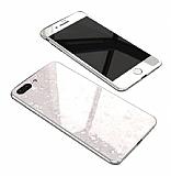 Dafoni Glass Guard iPhone 7 Plus / 8 Plus Desenli 360 Derece Koruma Cam Beyaz Kılıf
