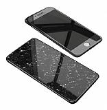 Dafoni Glass Guard iPhone 7 Plus / 8 Plus Desenli 360 Derece Koruma Cam Siyah Kılıf