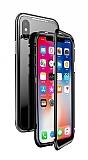 Dafoni Glass Guard iPhone XS Max Metal Kenarlı 360 Derece Koruma Cam Siyah Kılıf
