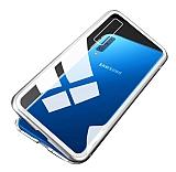 Dafoni Glass Guard Samsung Galaxy A9 2018 Silver Metal Kenarlı Cam Kılıf