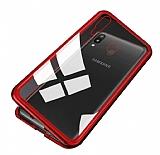 Dafoni Glass Guard Samsung Galaxy M20 Metal Kenarlı Cam Kırmızı Kılıf