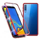 Dafoni Glass Guard Samsung Galaxy M30 Metal Kenarlı Cam Kırmızı Kılıf