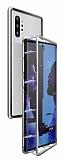 Dafoni Glass Guard Samsung Galaxy Note 10 Metal Kenarlı Cam Silver Kılıf