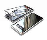 Dafoni Glass Guard Samsung Galaxy Note 8 Metal Kenarlı Cam Silver Kılıf