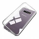 Dafoni Glass Guard Samsung Galaxy S10 Metal Kenarlı Cam Silver Kılıf