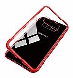 Dafoni Glass Guard Samsung Galaxy S10 Plus Metal Kenarlı Cam Kırmızı Kılıf