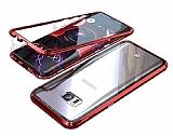 Dafoni Glass Guard Samsung Galaxy S7 Edge Metal Kenarlı Cam Kırmızı Kılıf