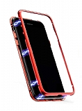Dafoni Glass Guard Samsung Galaxy S8 Metal Kenarlı Cam Kırmızı Kılıf