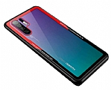 Dafoni Glass Shield Huawei P30 Kırmızı Silikon Kenarlı Cam Kılıf