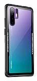 Dafoni Glass Shield Huawei P30 Siyah Silikon Kenarlı Cam Kılıf
