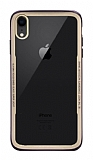 Dafoni Glass Shield iPhone XR Gold Silikon Kenarlı Cam Kılıf