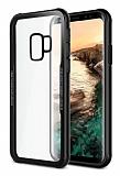 Dafoni Glass Shield Samsung Galaxy A8 Plus 2018 Siyah Silikon Kenarlı Cam Kılıf