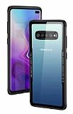 Dafoni Glass Shield Samsung Galaxy S10 Siyah Silikon Kenarlı Cam Kılıf