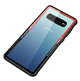 Dafoni Glass Shield Samsung Galaxy S10e Kırmızı Silikon Kenarlı Cam Kılıf