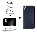 Dafoni HTC Desire 820 Dark Silver Kılıf ve Eiroo Cam Ekran Koruyucu Seti