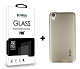Dafoni HTC Desire 820 Gold Kılıf ve Eiroo Cam Ekran Koruyucu Seti