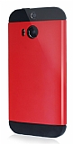 Dafoni HTC One M8 Slim Power Kırmızı Kılıf