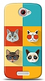 HTC One S Four Cats Kılıf