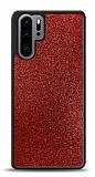 Dafoni Huawei P30 Pro Silikon Kenarlı Simli Kırmızı Kılıf