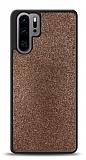 Dafoni Huawei P30 Pro Silikon Kenarlı Simli Kahverengi Kılıf