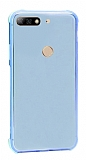 Dafoni Hummer Huawei Y7 2018 Ultra Koruma Silikon Kenarlı Mavi Kılıf