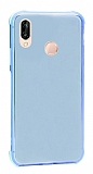 Dafoni Hummer Huawei Y7 2019 Ultra Koruma Silikon Kenarlı Mavi Kılıf