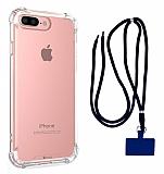 Dafoni Hummer iPhone 7 Plus / 8 Plus Lacivert Askılı Ultra Koruma Kılıf