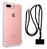 Dafoni Hummer iPhone 7 Plus / 8 Plus Siyah Askılı Ultra Koruma Kılıf
