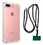 Dafoni Hummer iPhone 7 Plus / 8 Plus Yeşil Askılı Ultra Koruma Kılıf