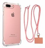 Dafoni Hummer iPhone 7 Plus / 8 Plus Pembe Askılı Ultra Koruma Kılıf