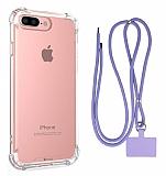 Dafoni Hummer iPhone 7 Plus / 8 Plus Mor Askılı Ultra Koruma Kılıf