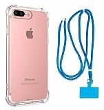 Dafoni Hummer iPhone 7 Plus / 8 Plus Mavi Askılı Ultra Koruma Kılıf