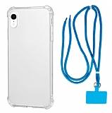 Dafoni Hummer iPhone XR Mavi Askılı Ultra Korum Kılıf