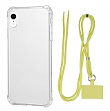 Dafoni Hummer iPhone XR Sarı Askılı Ultra Koruma Kılıf
