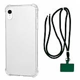 Dafoni Hummer iPhone XR Yeşil Askılı Ultra Koruma Kılıf