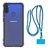 Dafoni Hummer Samsung Galaxy A11 Mavi Askılı Ultra Koruma Kılıf
