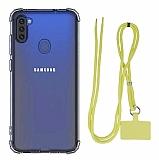 Dafoni Hummer Samsung Galaxy A11 Sarı Askılı Ultra Koruma Kılıf