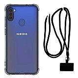Dafoni Hummer Samsung Galaxy A11 Siyah Askılı Ultra Koruma Kılıf
