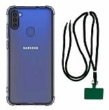 Dafoni Hummer Samsung Galaxy A11 Yeşil Askılı Ultra Koruma Kılıf