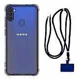 Dafoni Hummer Samsung Galaxy A11 Lacivert Askılı Ultra Koruma Kılıf