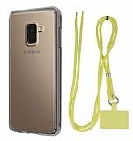Dafoni Hummer Samsung Galaxy A8 Plus 2018 Sarı Askılı Ultra Koruma Kılıf
