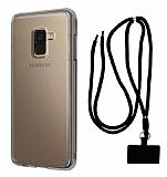 Dafoni Hummer Samsung Galaxy A8 Plus 2018 Siyah Askılı Ultra Koruma Kılıf